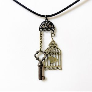 Jewelry - Antiqued Brass Charm Pendant Necklace